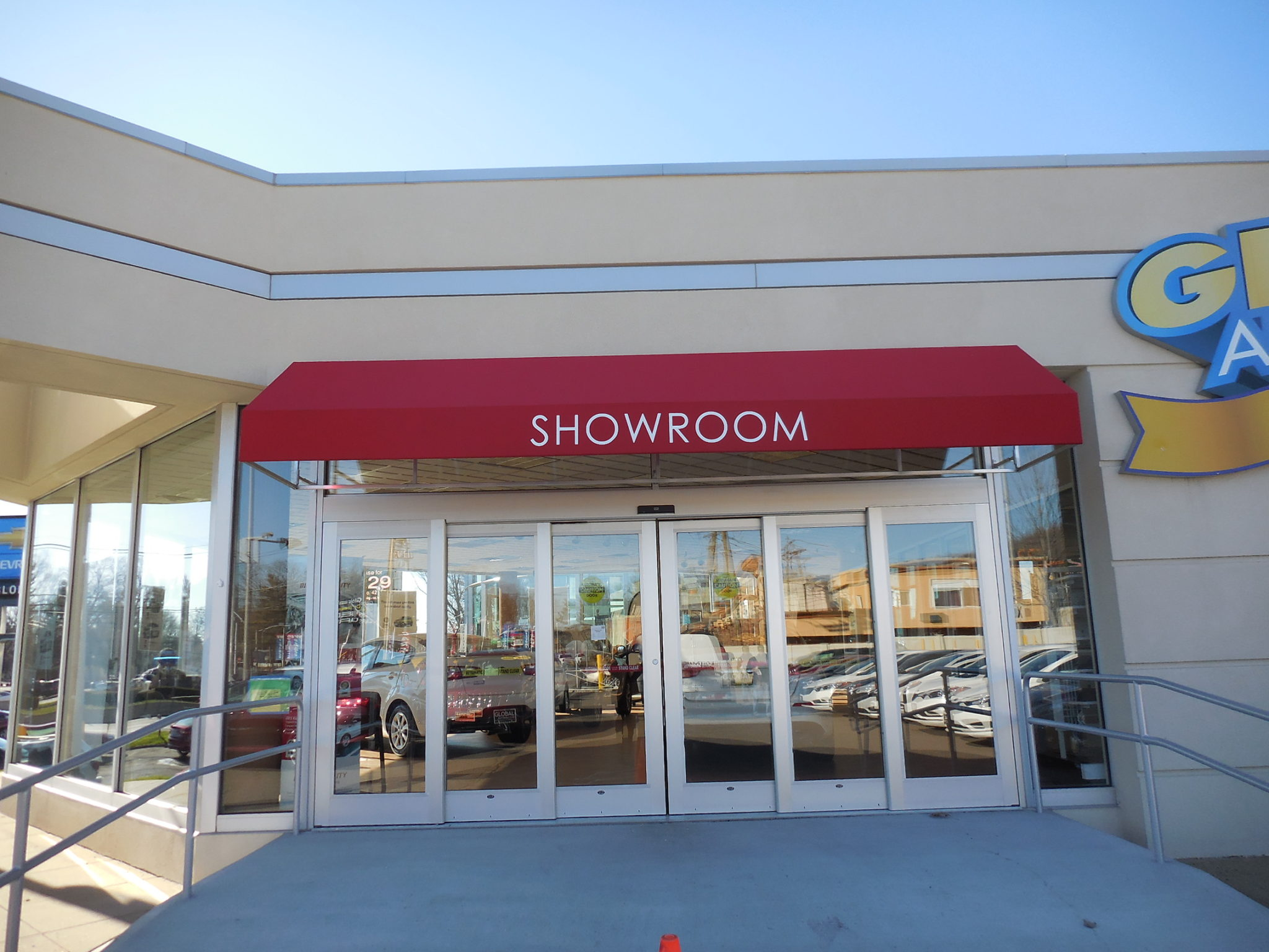 Outdoor Commercial Awnings for NJ Businesses   Loumarc Signs
