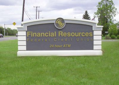 Financial simulated stone monument sign