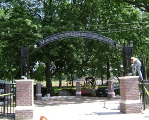 image of Vailsburg steel arch in Newark, NJ, by Loumarc Signs